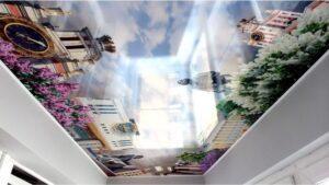 Экосольвентная и УФ фотопечать на натяжных потолках в Назрани шириной до 5м